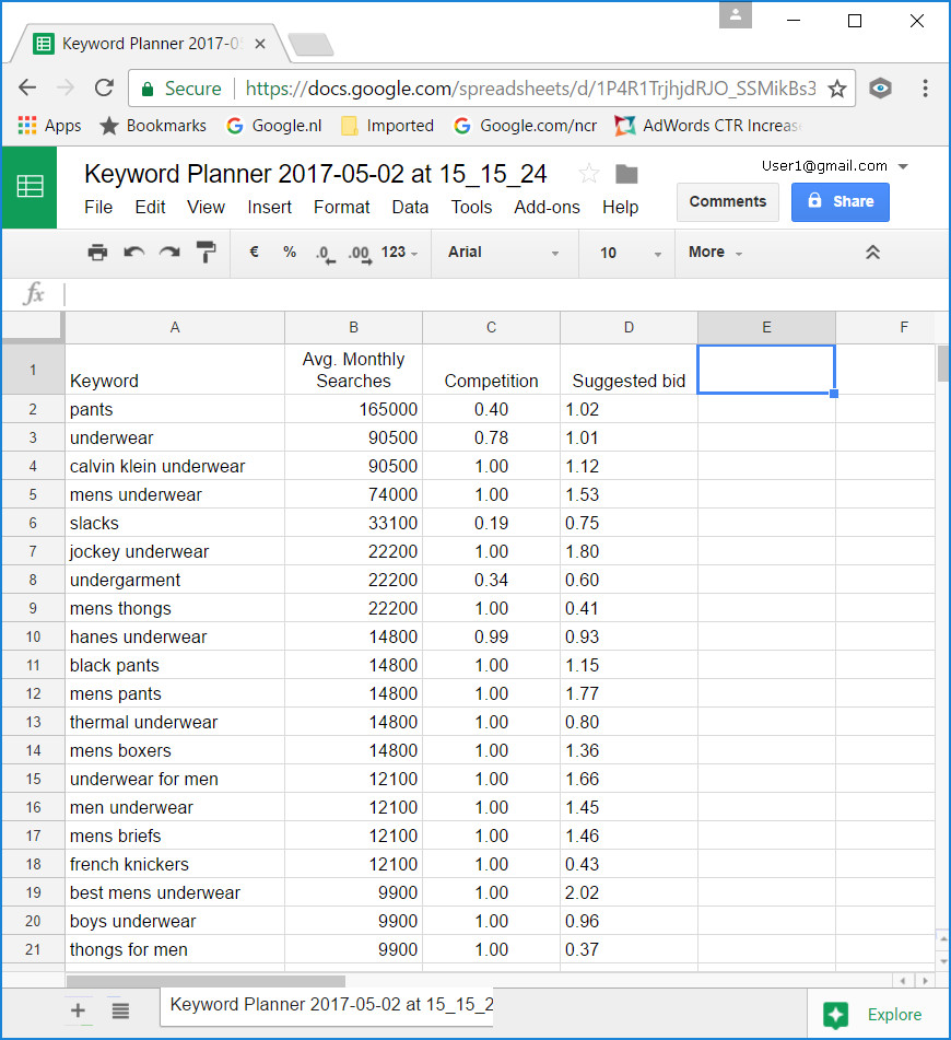 @iPower plc - Higher in Google - Keyword Planner - spreadsheet with Keywords