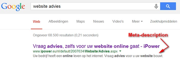 Meer info over de tag meta-description - @iPower
