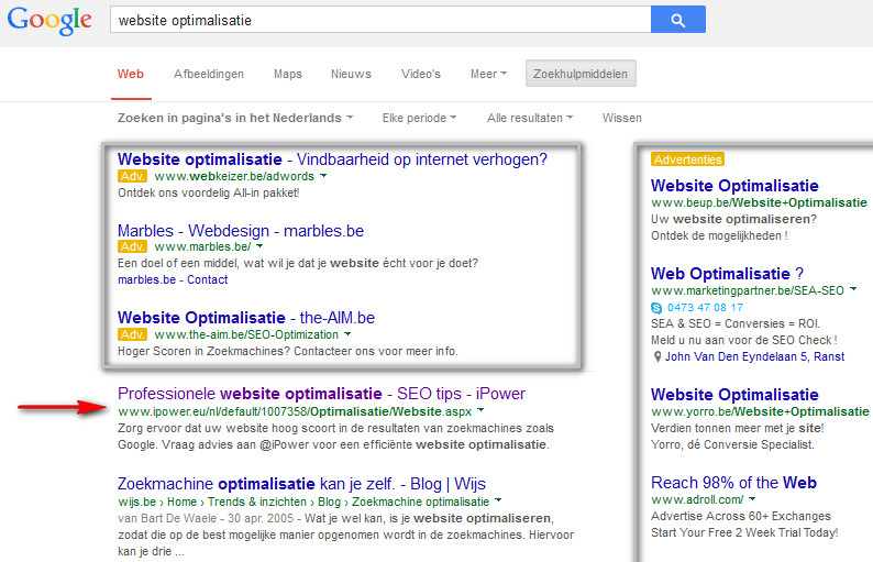 Zoekmachine optimalisate - voorbeeld voor website optimalisatie door @iPower nv - Google