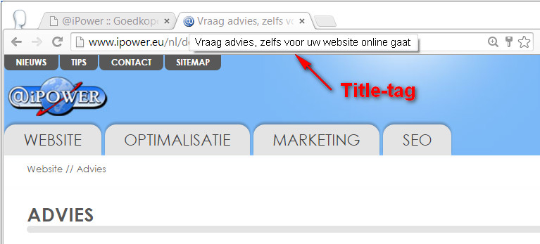 Title-tag, plaats in de browser - iPower